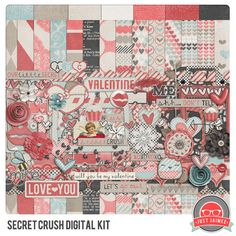Secret Crush Revamped – Valentine's Day Digital Scrapbooking Kit + New CU products #scrapbook #digiscrap