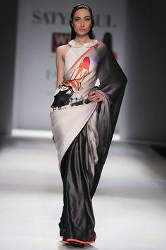 Ombre Grey Embellished Digital-Print Lipstick Satin Saree