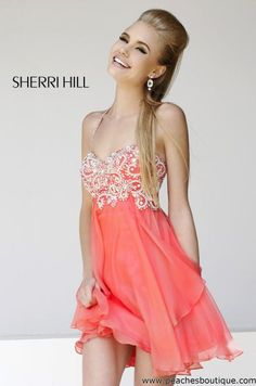 2015 Coral Sherri Hill 3878 Halter Cocktail Dress | For the 15 ...