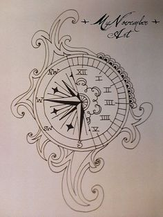"Compass clock tattoo I want something like this but saying something to the effect of ""be the one to guide me,i run on your clock."""