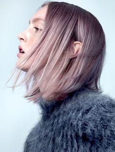 Le Fashion Blog Hair Crush Short Straight Lavender Hair Fuzzy Mock Neck Sweater Via W Mag