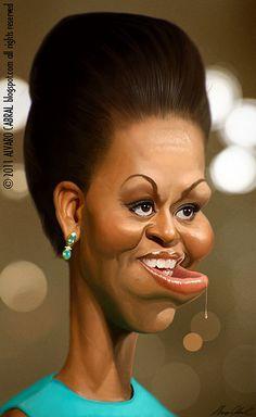 Caricaturas by Daniel Alho / Michelle Obama