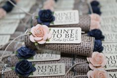 Navy and blush wedding favors