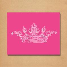 Nursery Princess Crown Pink Art Print - Instant Download Printable