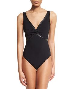 TBGWR Karla Colletto Twisted-Front Pleather-Trim One-Piece Swimsuit, Black