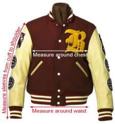Custom Letterman Jacket sizing info,Varsity Jacket sizes, Sizing for Letterman Jackets