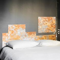 The originality of this headboard is in the shape of its frame by Meg Design #homedecor #bedroom