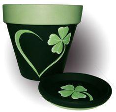 St. Patrick's painted terra cotta flower pot.