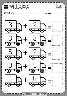Addition Worksheets for Kids - Profe Recursos First Grade Math Worksheets, Sight Word Worksheets, Free Math Worksheets, Addition Worksheets, School Worksheets, Handwriting Worksheets, Printable Worksheets, Free Printables, Maternelle Grande Section