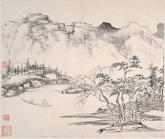 Landscapes Yi Bingshou  (Chinese, 1754–1815) Period: Qing dynasty (1644–1911) Date: dated 1814 Culture: China Medium: Album of eight leaves; ink on paper Dimensions: 9 3/4 x 11 5/8 in. (24.8 x 29.5 cm)
