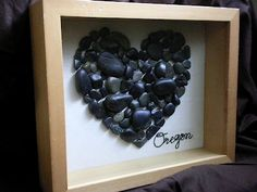 collect rocks from a vacation or honeymoon. In shadowbox :)