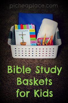 Bible Study Basket for Kids put together a basket of supplies to help your kids study the Bible on their own Family Bible Study, Bible Study For Kids, Bible Lessons For Kids, Scripture Study, Kids Bible, Bible Bible, Bible Verses, Bible Activities For Kids, Church Activities
