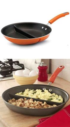 A divided skillet that lets you cook two single-serving dishes while only dirtying one dish. I need this in my life!!