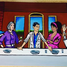 Archer Vice Last Supper 12x36 acrylic hand by RaysPaintings