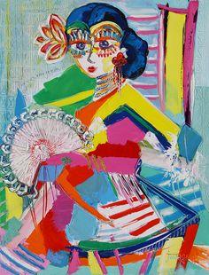 L'andalouse - 116 x 89 cm - Huile sur toile