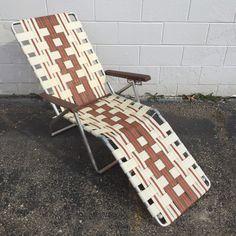 Vtg Aluminum Webbed CHAISE LOUNGE Retro Brown & Tan Beach Folding Lawn Chair   | eBay