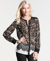 Hand-Drawn Lace Print Shirt - Amazing lace: our hand-drawn lace shirt takes romantic sensibilities and mingles them with a decidedly modern silhouette. Split neck. Long sleeves with button closure. Hidden button front. Shirred forward shoulder seams. Shirred back yoke.