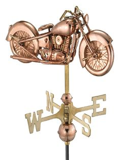 Good Directions Polished Copper Roof-mount Motorcycle Weathervane at Lowe's. The perfect combination of technology, craftsmanship, and American heritage, this vintage motorcycle is ready to adorn the rooftop of smaller structures, Pole For Sale, Garden Poles, House Proud, Wind Direction, Copper Roof, Weather Vanes, Copper Material, Motorcycle Design, Classic Motorcycle