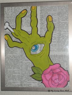Green Zombie Hand with Rose Painting   $35.00  http://www.etsy.com/listing/92813091