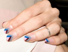 This striped, negative space mani is easier to DIY than you might imagine. | @andwhatelse