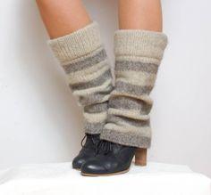 Boiled wool striped leg warmers  knit leg warmers  by WoolenClogs, $42.00