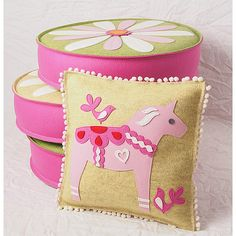 Swedish Dala Horse Decorative Pillow in Yellow by CheekyMonkeyHome, $168.00