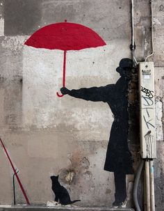 Red Umbrella on rue Saint Merri, Paris by Digirrl