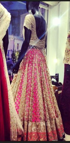 Manish Malhotra silver, pink, and gold lehenga. Indian Bridal Wear, Indian Wedding Outfits, Bridal Outfits, Indian Outfits, Indian Weddings, Bridal Dresses, Indian Attire, Indian Ethnic Wear, Desi Clothes