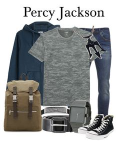 """Percy Jackson"" by megan-vanwinkle ❤ liked on Polyvore featuring Emporio Armani, True Religion, Scotch & Soda, Uniqlo, A.P.C., Diesel, Nixon and Converse"