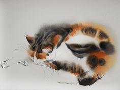 january cat 28*38 sm watercolor on paper @Olga Flerova available at saatchiart.com