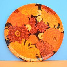 Vintage 1960s Thetford Round Tray - Flower Design, Orange