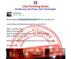 LIKE-FARMING - 'Mercedes Benz CLA 45' Facebook Giveaway: The Page is bogus and the competitions that it promotes are not legitimate. There are no winners and no cars are being given away.