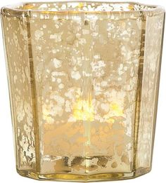 Gold Mercury Glass Candle Holder (flat edge design)