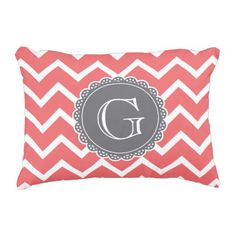 Coral Chevron Grey Monogram Decorative Pillow