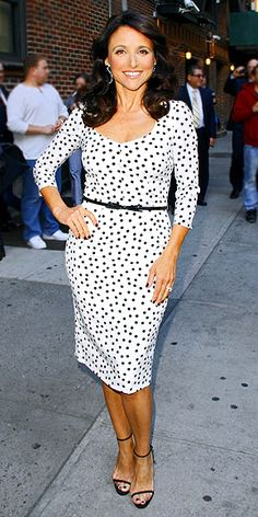 Julia Louis-Dreyfus looking perky in polka-dots