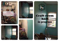extra room become 1/2 walk in closet and 1/2 craft project room MakinMyAptaHome.com craftroomhalfinprogress