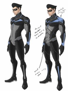 Sooooooo, lets throw you guys some more costume design art work shall we.. First up, NIGHTWING!!!!!!!!  Made by April Mon (Concept Art Designer for Teen Titans Project) Nightwing (c) DC Comics This version (c) Teen Titans Project