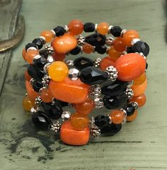 Orange Quartzite & Black Glass Memory Wire Wrap Bracelet,  Cincinnati Bengal, Princeton University, Oklahoma St, Syracuse, Idaho St, Mercer by SuzetteGaleJewelry on Etsy