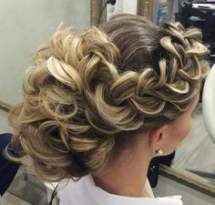 bridal curly updo with a side braid
