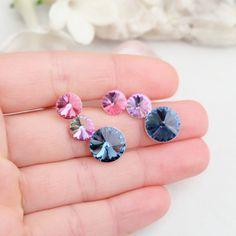 Rose pink denim blue Swarovski crystal earrings Bridesmaids