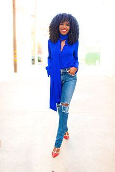 This blue blouse is a perfect shade of blue.
