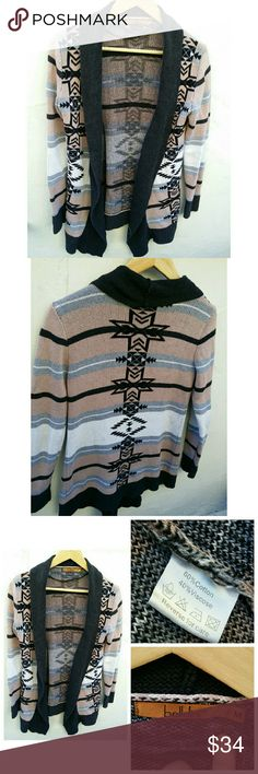 Anthropologie Belldini Aztec Navajo sweater Anthropologie Belldini Aztec Navajo SouthWestern Indian Duster Sweater Coat Open Front Cardagain  Pit to pit 18in Top to Bottom 26.5in Sleeve Length 22in Anthropologie Sweaters Cardigans