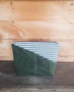 A Well Worn Story | vintage ticking & reclaimed US military tent zipped pouch