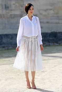 White Shirt & White Long Cutout Skirt  from besugarandspice.com