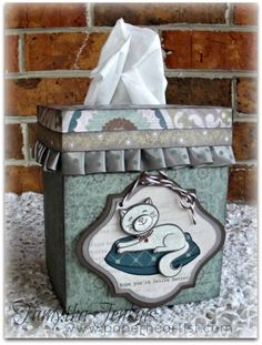 Tissue Box Cover created by Tamytha Jenkins of paperheartist.com  Using Close To My Heart Avonlea paper, Cozy Cat stamp, ribbon and CTMH Cricut cartridge, Art Philosophy.