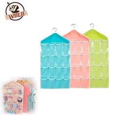 16 Pockets Multifunctional Hanging Storage Bag For Underwears Socks Towels  On Door Wall Closet