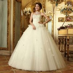 $83.42 Charming Sweetheart Neck Appliques and Sequins Women's Lace Hem Floor Length Wedding Dress