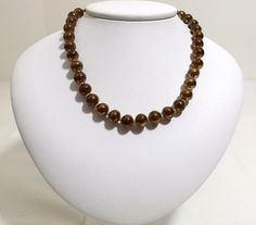 Vintage JAPAN Brown Mirror Bead Necklace ca. 1940's by KatsCache, $34.95