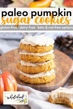 Paleo Pumpkin Sugar Cookies - WholeFoodFor7 Paleo Pumpkin Muffins, Pumpkin Sugar Cookies, Paleo Cookies, Almond Flour Cookies, Gluten Free Cookies, Pumpkin Recipes, Pumpkin Pumpkin, Pumpkin Pie Spice, Paleo Baking