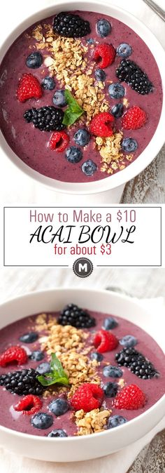 How to Make a $10 Acai Bowl for $3: Acai bowls are all the rage these days but you might get sticker shock if you try to order one at a healthy breakfast spot. Luckily, you can easily make these at home if you have a blender. They are a perfect healthy way to start the day! | http://macheesmo.com